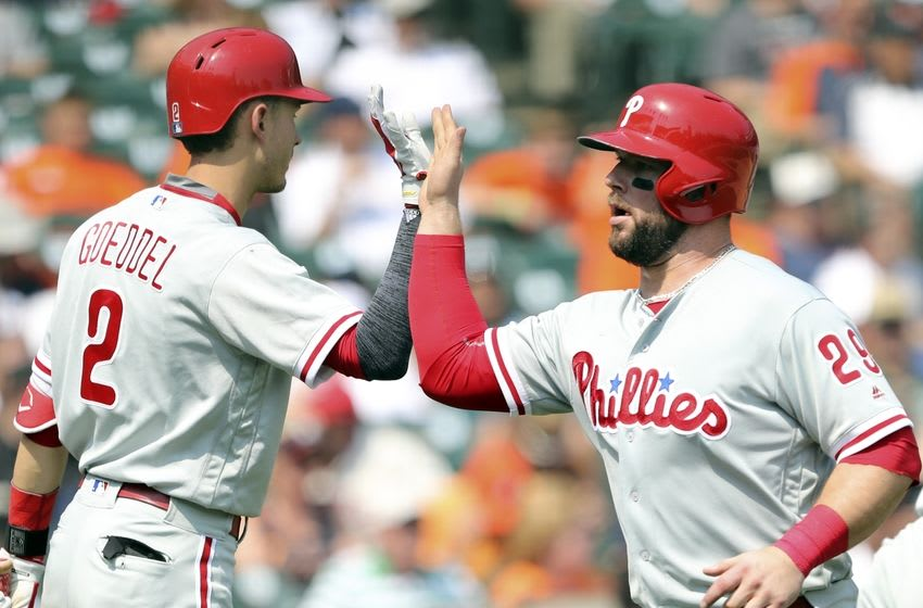 May 25, 2016; Detroit, MI, USA; Philadelphia Phillies catcher Cameron Rupp (29) gives five to left fielder Tyler Goeddel (2) after scoring during the eighth inning against the Detroit Tigers at Comerica Park. Phillies win 8-5. Mandatory Credit: Raj Mehta-USA TODAY Sports