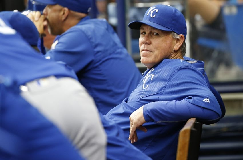 Aug 4, 2016; St. Petersburg, FL, USA; Kansas City Royals manager Ned Yost (3) looks on from the dugout during the second inning against the Tampa Bay Rays at Tropicana Field. Mandatory Credit: Kim Klement-USA TODAY Sports
