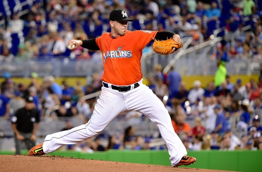 Jun 26, 2016; Miami, FL, USA; Miami Marlins starting pitcher Jose Fernandez (16) delivers a pitch during the first inning against the Chicago Cubs at Marlins Park. Mandatory Credit: Steve Mitchell-USA TODAY Sports