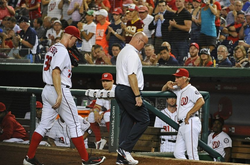 Sep 7, 2016; Washington, DC, USA; Washington Nationals starting pitcher Stephen Strasburg (37) is removed from the game with an apparent right arm injury during the second inning against the Atlanta Braves at Nationals Park. Mandatory Credit: Brad Mills-USA TODAY Sports