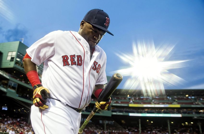 Sep 14, 2016; Boston, MA, USA; Boston Red Sox designated hitter David Ortiz (34) takes the field before their game against the Baltimore Orioles at Fenway Park. Mandatory Credit: Winslow Townson-USA TODAY Sports