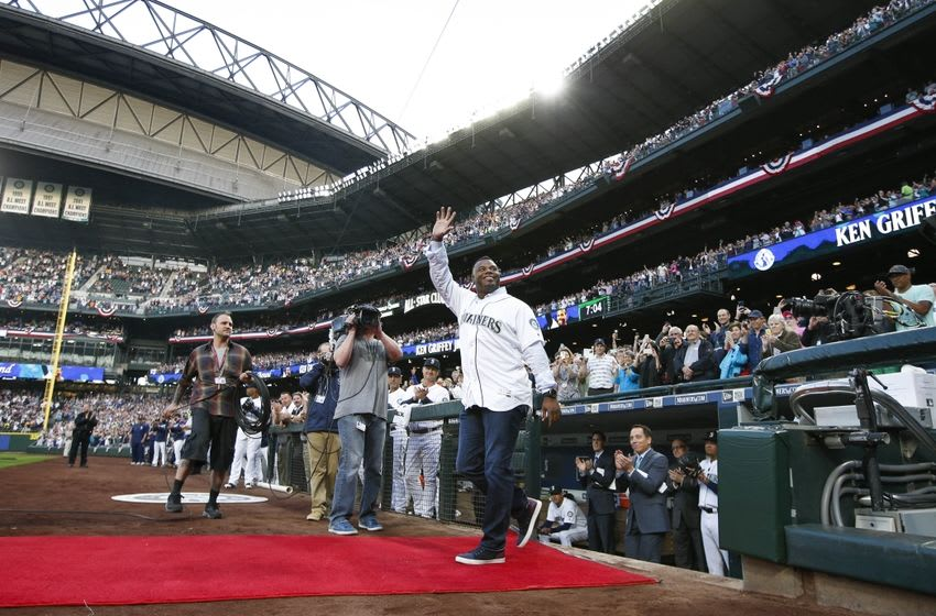 Apr 8, 2016; Seattle, WA, USA; Seattle Mariners former outfielder Ken Griffey, Jr. is introduced during a pre game ceremony honoring his selection to the baseball hall of fame before a game against the Oakland Athletics at Safeco Field. Mandatory Credit: Joe Nicholson-USA TODAY Sports
