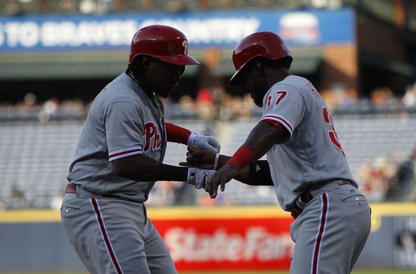 Franco and Herrera Display Their Camaraderie. Photo by Brett Davis - USA TODAY Sports.