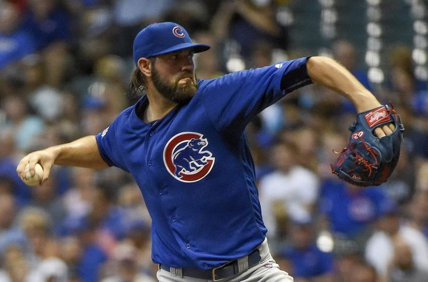 Sep 6, 2016; Milwaukee, WI, USA; Chicago Cubs pitcher Jason Hammel throws a pitch in the first inning during the game against the Milwaukee Brewers at Miller Park. Mandatory Credit: Benny Sieu-USA TODAY Sports