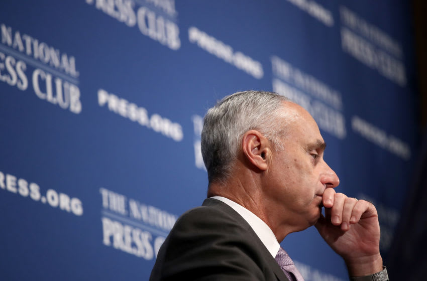 WASHINGTON, DC - JULY 16: Major League Baseball Commissioner Rob Manfred speaks at the National Press Club July 16, 2018 in Washington, DC. The MLB All-Star game will be held tomorrow at Nationals Park. (Photo by Win McNamee/Getty Images)