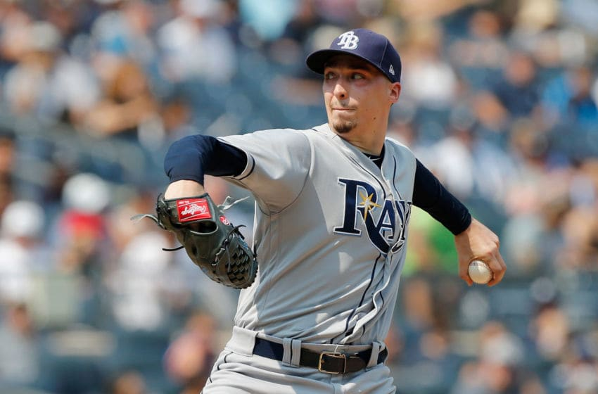 NEW YORK, NY - AUGUST 16: (NEW YORK DAILIES OUT) Blake Snell #4 of the Tampa Bay Rays in action against the New York Yankees at Yankee Stadium on August 16, 2018 in the Bronx borough of New York City. The Rays defeated the Yankees 3-1. (Photo by Jim McIsaac/Getty Images)