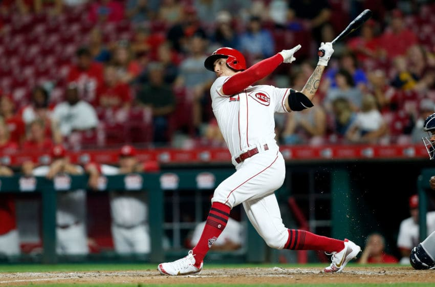 CINCINNATI, OH - SEPTEMBER 7: Michael Lorenzen #21 of the Cincinnati Reds takes an at bat during the game against the San Diego Padres at Great American Ball Park on September 7, 2018 in Cincinnati, Ohio. (Photo by Kirk Irwin/Getty Images)