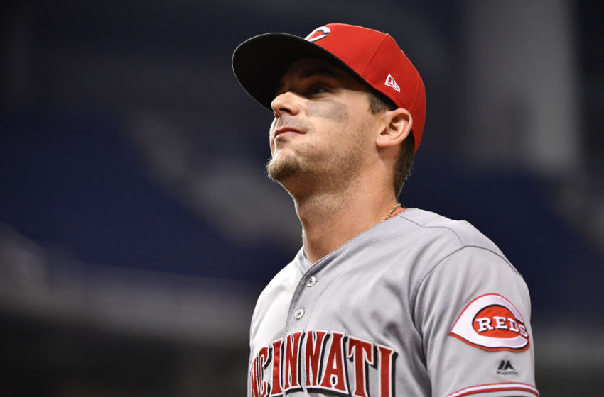 MIAMI, FL - SEPTEMBER 20: Scooter Gennett #3 of the Cincinnati Reds in action against the Miami Marlins at Marlins Park on September 20, 2018 in Miami, Florida. (Photo by Mark Brown/Getty Images)
