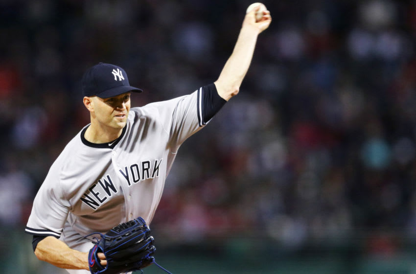 BOSTON, MA - SEPTEMBER 28: J.A. Happ #34 of the New York Yankees pitches against the Boston Red Sox during the first inning at Fenway Park on September 28, 2018 in Boston, Massachusetts. (Photo by Maddie Meyer/Getty Images)