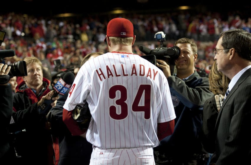 PHILADELPHIA - OCTOBER 6: Roy Halladay of the Philadelphia Phillies is interviewed after pitching a no-hitter during Game One of the National League Division Series against the Cincinnati Reds at Citizens Bank Park on Wednesday, October 6, 2010 in Philadelphia, Pennsylvania. The Phillies defeated the Reds 4-0. (Photo by Rich Pilling/MLB via Getty Images)