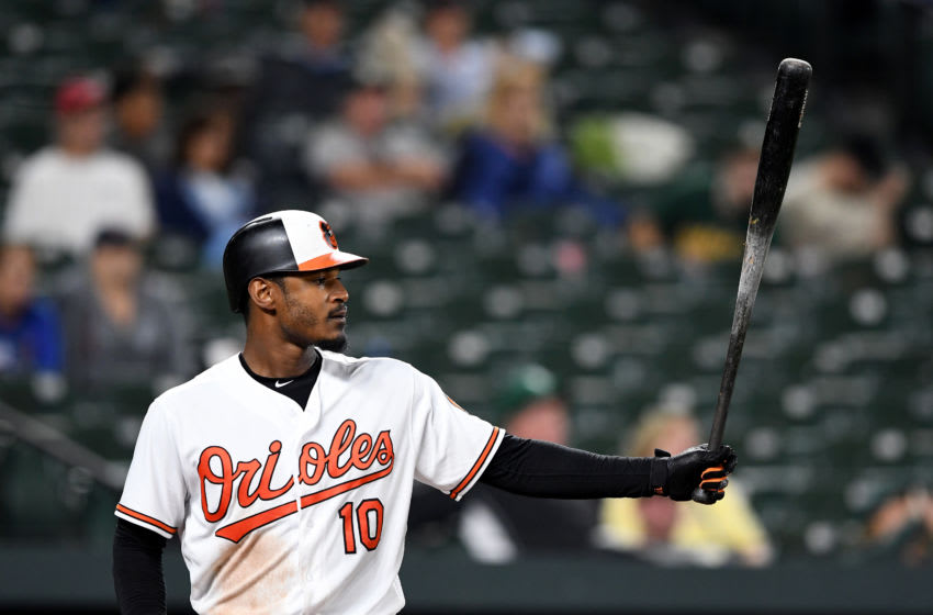 BALTIMORE, MD - SEPTEMBER 11: Adam Jones #10 of the Baltimore Orioles bats against the Oakland Athletics at Oriole Park at Camden Yards on September 11, 2018 in Baltimore, Maryland. (Photo by G Fiume/Getty Images)