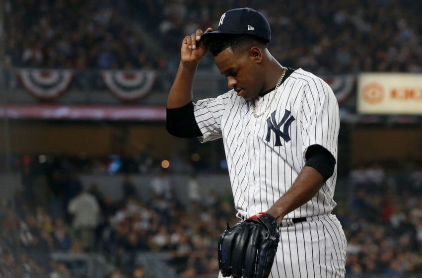 NEW YORK, NY - OCTOBER 08: (NEW YORK DAILIES OUT) Luis Severino #40 of the New York Yankees walks to the dugout as he leaves against the Boston Red Sox in Game Three of the American League Division Series at Yankee Stadium on October 8, 2018 in the Bronx borough of New York City. The Red Sox defeated the Yankees 16-1. (Photo by Jim McIsaac/Getty Images)