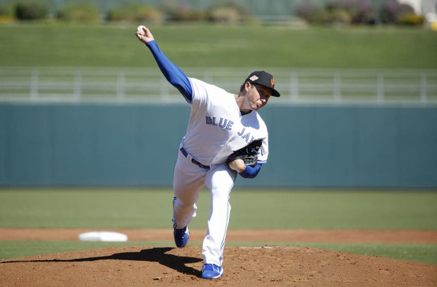 SURPRISE, AZ - OCTOBER 18: Nate Pearrson #20 of the Surprise Saguaros and Toronto Blue Jays pitches during the 2018 Arizona Fall League on October 18, 2018 at Surprise Stadium in Surprise, Arizona. (Photo by Joe Robbins/Getty Images)