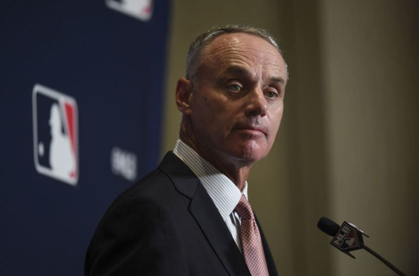 WEST PALM BEACH, FL - FEBRUARY 17: Major League Baseball commissioner Rob Manfred answers questions Sunday at Spring Training Media Day at the Hilton West Palm Beach on Sunday, February 17, 2019. (Photo by Toni L. Sandys/The Washington Post via Getty Images)