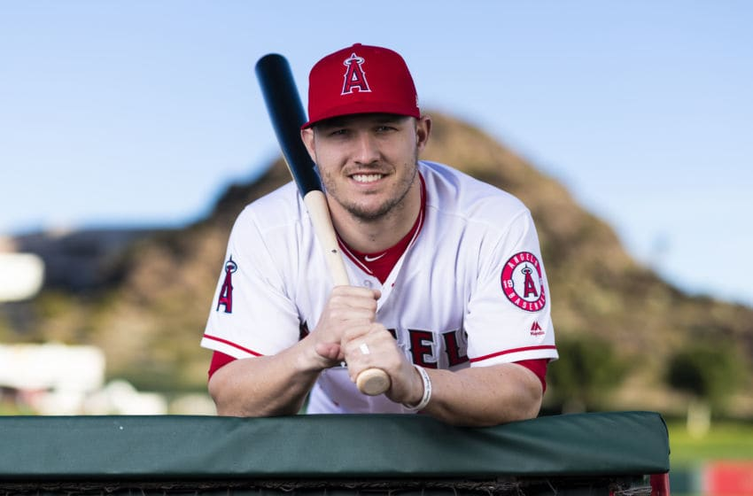 TEMPE, AZ - FEBRUARY 19: Los Angeles Angels outfielder Mike Trout (27) poses for a portrait during the Los Angeles Angels photo day on Tuesday, Feb. 19, 2019 at Tempe Diablo Stadium in Tempe, Ariz. (Photo by Ric Tapia/Icon Sportswire via Getty Images)