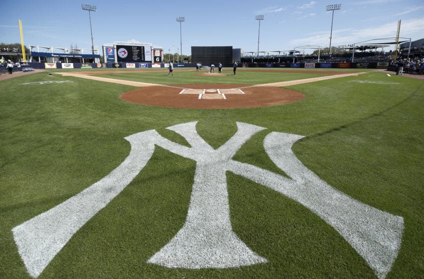 TAMPA, FL - FEBRUARY 25: General view of the New York Yankees logo as the grounds crew prepares the field prior to a Grapefruit League spring training game against the Toronto Blue Jays at Steinbrenner Field on February 25, 2019 in Tampa, Florida. The Yankees won 3-0. (Photo by Joe Robbins/Getty Images)