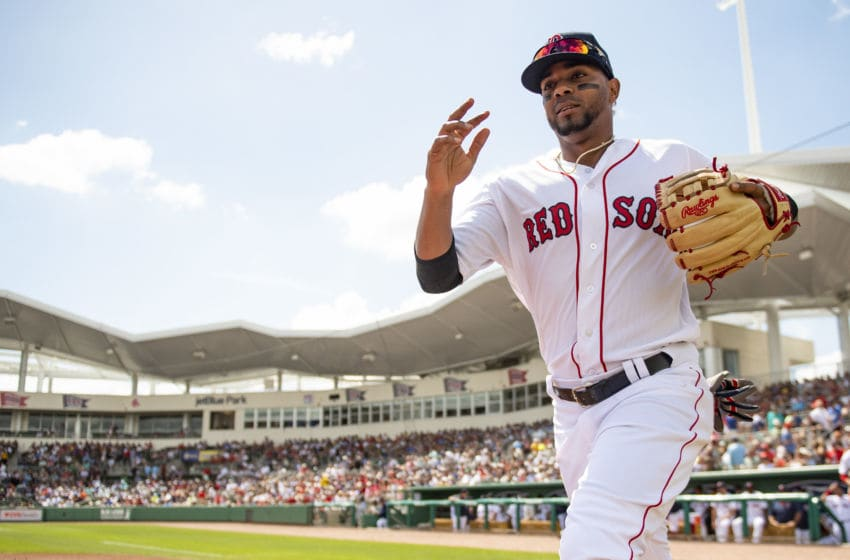 FT. MYERS, FL - MARCH 9: Xander Bogaerts #2 of the Boston Red Sox takes the field before a game against the New York Mets on March 9, 2019 at JetBlue Park at Fenway South in Fort Myers, Florida. (Photo by Billie Weiss/Boston Red Sox/Getty Images)