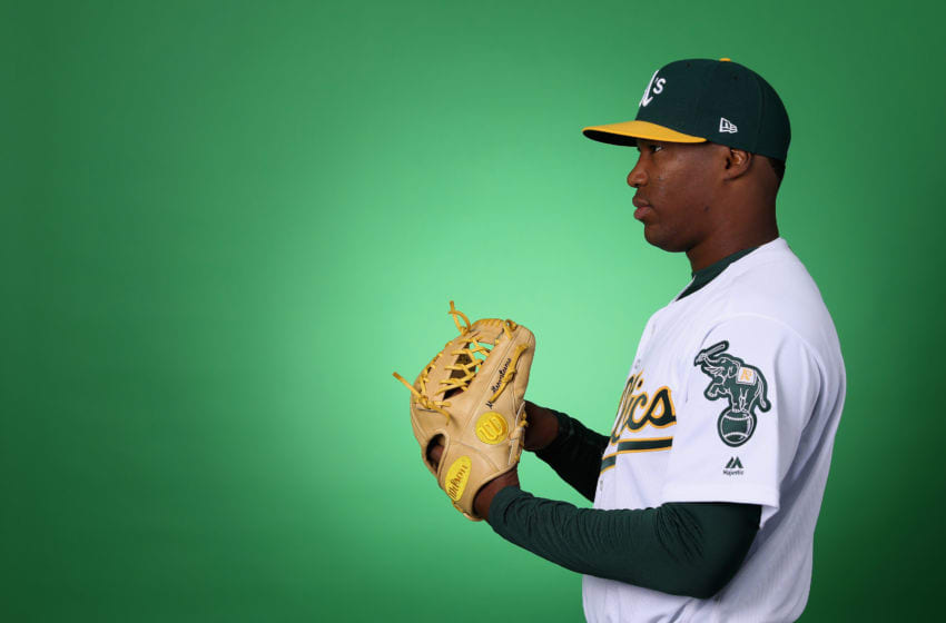 MESA, ARIZONA - FEBRUARY 19: Pitcher Luis Miguel Romero #65 of the Oakland Athletics poses for a portrait during photo day at HoHoKam Stadium on February 19, 2019 in Mesa, Arizona. (Photo by Christian Petersen/Getty Images)