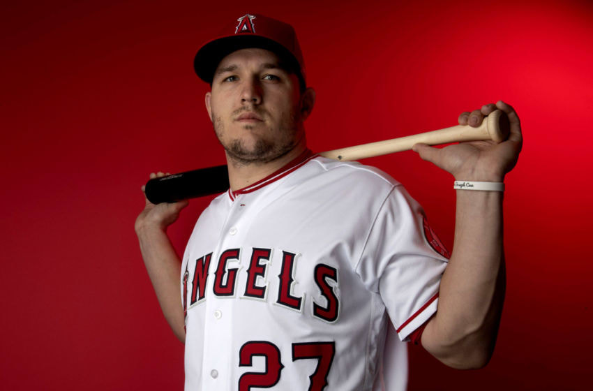 LOS ANGELES, CA - February 19: Los Angeles Angeles' Mike Trout #27 during photo day at Tempe Diablo Stadium on Tuesday, February 19, 2019 in Tempe, Arizona. (Photo by Keith Birmingham/MediaNews Group/Pasadena Star-News via Getty Images)