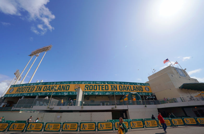 OAKLAND, CA - MARCH 28: A view from outside the stadium on Opening Day prior to the start of a Major League Baseball game between the Los Angeles Angels of Anaheim and the Oakland Athletics at Oakland-Alameda County Coliseum on March 28, 2019 in Oakland, California. (Photo by Thearon W. Henderson/Getty Images)