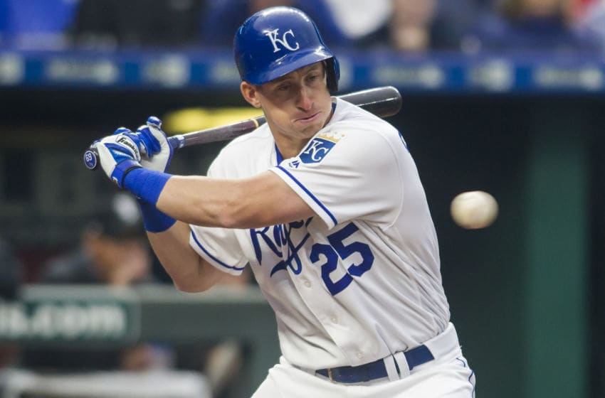 KANSAS CITY, MO - MARCH 28: Kansas City Royals first base Frank Schwindel (25) eyes the pitch during the home opener game between the Kansas City Royals and the Chicago White Sox on Thursday March 28, 2019 at Kauffman Stadium in Kansas City, MO. (Photo by Nick Tre. Smith/Icon Sportswire via Getty Images)