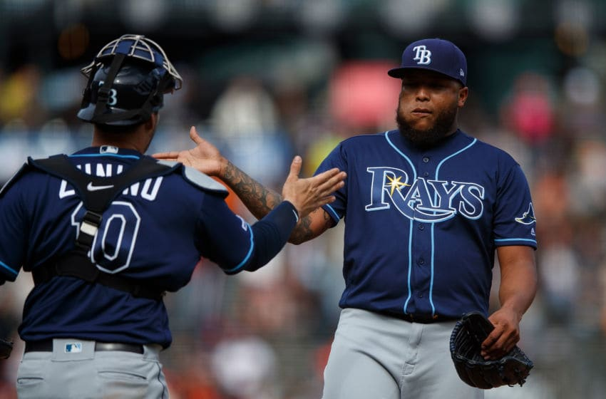SAN FRANCISCO, CA - APRIL 07: Jose Alvarado #46 of the Tampa Bay Rays celebrates with Mike Zunino #10 after the game against the San Francisco Giants at Oracle Park on April 7, 2019 in San Francisco, California. The Tampa Bay Rays defeated the San Francisco Giants 3-0. (Photo by Jason O. Watson/Getty Images)