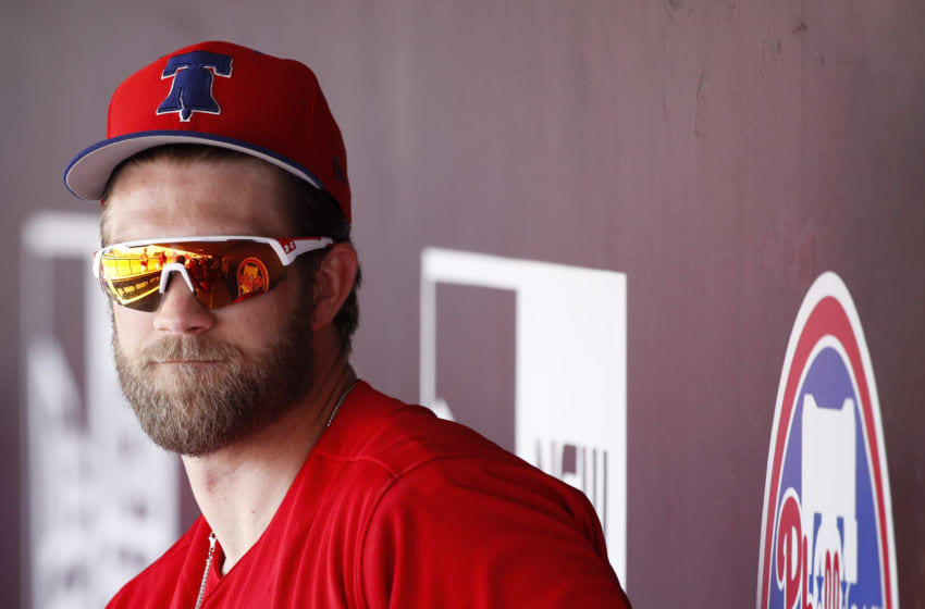 CLEARWATER, FL - MARCH 11: Bryce Harper #3 of the Philadelphia Phillies looks on during a Grapefruit League spring training game against the Tampa Bay Rays at Spectrum Field on March 11, 2019 in Clearwater, Florida. The Rays won 8-2. (Photo by Joe Robbins/Getty Images)