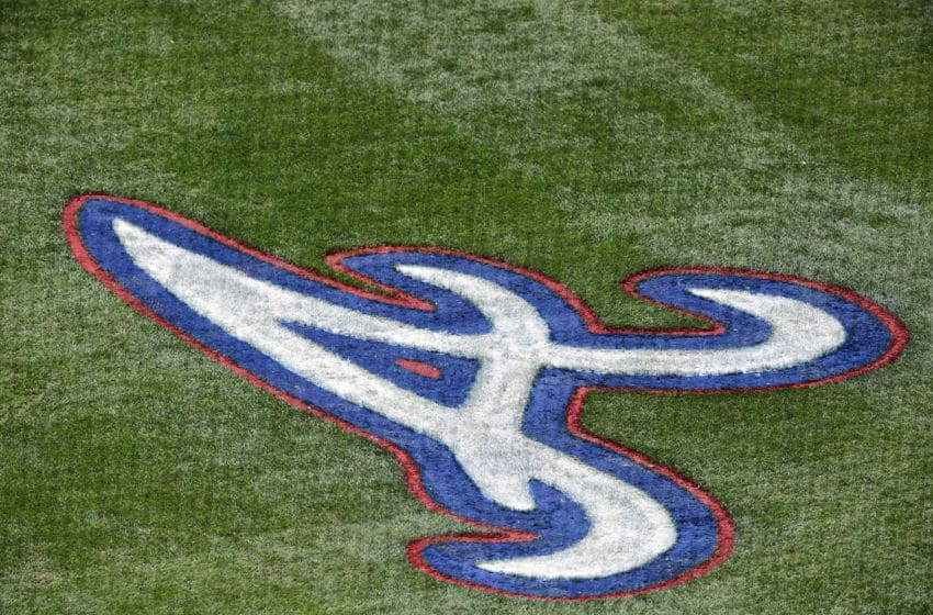 LAKE BUENA VISTA, FLORIDA - MARCH 23: The Atlanta Braves logo is painted on the field at Champion stadium during a spring training game between the Atlanta Braves and the New York Mets on March 23, 2019 in Lake Buena Vista, Florida. (Photo by Julio Aguilar/Getty Images)