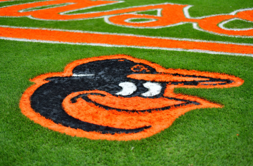 SARASOTA, FLORIDA - MARCH 20: A general view of the orioles logo before a spring training game between the Baltimore Orioles and the Boston Red Sox at Ed Smith Stadium on March 20, 2019 in Sarasota, Florida. (Photo by Julio Aguilar/Getty Images)