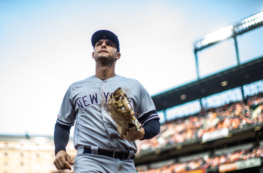 BALTIMORE, MD - APRIL 04: Greg Bird #33 of the New York Yankees looks on during the game against the Baltimore Orioles at Oriole Park at Camden Yards on April 4, 2019 in Baltimore, Maryland. (Photo by Rob Tringali/SportsChrome/Getty Images)