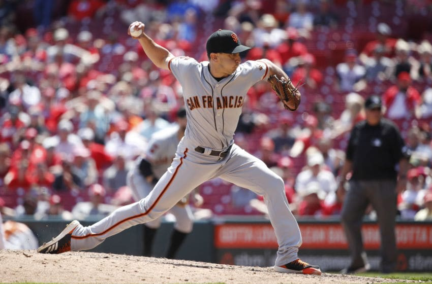 CINCINNATI, OH - MAY 06: Pat Venditte #46 of the San Francisco Giants pitches during a game against the Cincinnati Reds at Great American Ball Park on May 6, 2019 in Cincinnati, Ohio. The Reds won 12-4. (Photo by Joe Robbins/Getty Images)
