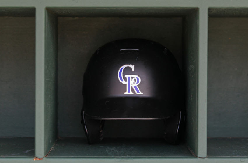 PHILADELPHIA, PA - MAY 18: A Colorado Rockies batting helmet in the dugout before a game against the Philadelphia Phillies at Citizens Bank Park on May 18, 2019 in Philadelphia, Pennsylvania. The Phillies defeated the Rockies 2-1. (Photo by Rich Schultz/Getty Images)