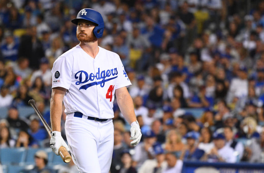 LOS ANGELES, CA - JULY 02: Los Angeles Dodgers outfielder Kyle Garlick (41) walks back to the dugout after striking out during a MLB game between the Arizona Diamondback and the Los Angeles Dodgers on July 2, 2019 at Dodger Stadium in Los Angeles, CA. (Photo by Brian Rothmuller/Icon Sportswire via Getty Images)