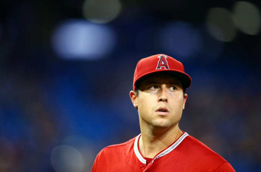 TORONTO, ON - JUNE 18: Tyler Skaggs #45 of the Los Angeles Angels of Anaheim leaves the field during a pitching change in the eighth inning during a MLB game against the Toronto Blue Jays at Rogers Centre on June 18, 2019 in Toronto, Canada. (Photo by Vaughn Ridley/Getty Images)