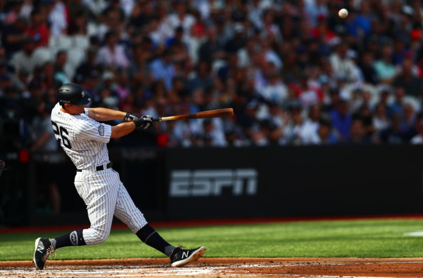 LONDON, ENGLAND - JUNE 30: DJ LeMahieu #26 of the New York Yankees bats during the MLB London Series game between Boston Red Sox and New York Yankees at London Stadium on June 30, 2019 in London, England. (Photo by Dan Istitene/Getty Images)