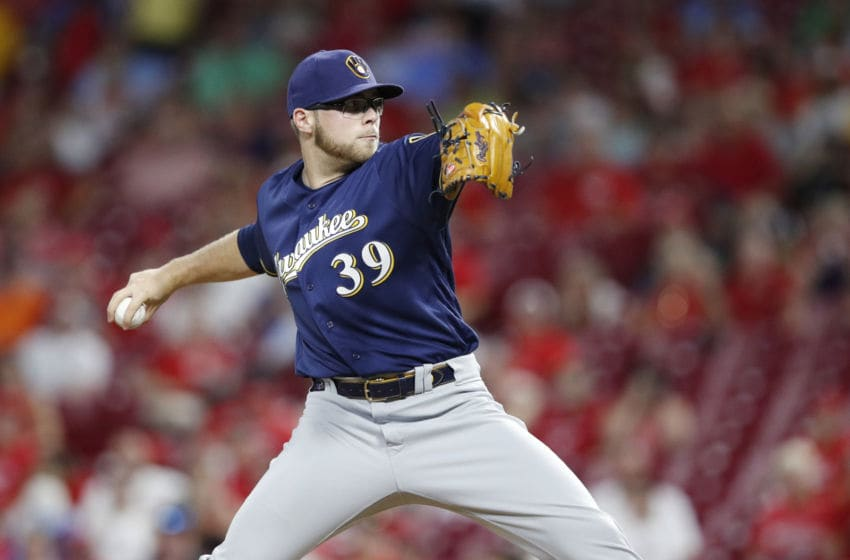 CINCINNATI, OH - JULY 01: Corbin Burnes #39 of the Milwaukee Brewers pitches in the seventh inning against the Cincinnati Reds at Great American Ball Park on July 1, 2019 in Cincinnati, Ohio. (Photo by Joe Robbins/Getty Images)