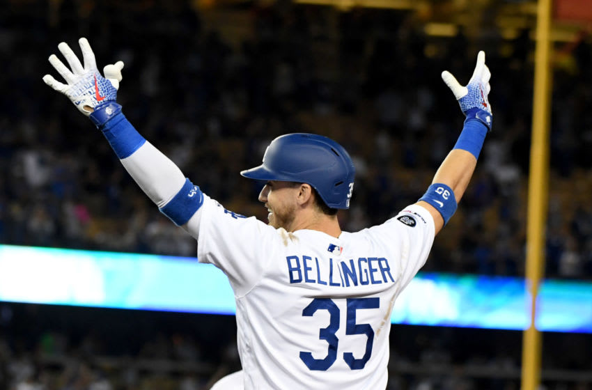 LOS ANGELES, CA - JULY 02: Cody Bellinger #35 of the Los Angeles Dodgers reacts after being walked with the bases loaded to defeat the Arizona Diamondbacks 5-4 in the ninth inning of a MLB baseball game at Dodger Stadium on Tuesday, July 02, 2019 in Los Angeles, California. (Photo by Keith Birmingham/MediaNews Group/Pasadena Star-News via Getty Images)
