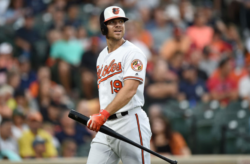 BALTIMORE, MD - AUGUST 07: Chris Davis #19 of the Baltimore Orioles walks to the dugout after striking out in the third inning against the New York Yankees at Oriole Park at Camden Yards on August 7, 2019 in Baltimore, Maryland. (Photo by Greg Fiume/Getty Images)