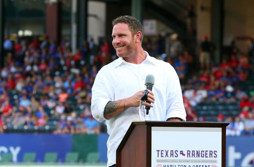 ARLINGTON, TX - AUGUST 17: Josh Hamilton speaks to the fans during his induction to the Texas Rangers Hall of Fame before the game between the Texas Rangers and the Minnesota Twins at Globe Life Park in Arlington on August 17, 2019 in Arlington, Texas. (Photo by Rick Yeatts/Getty Images)