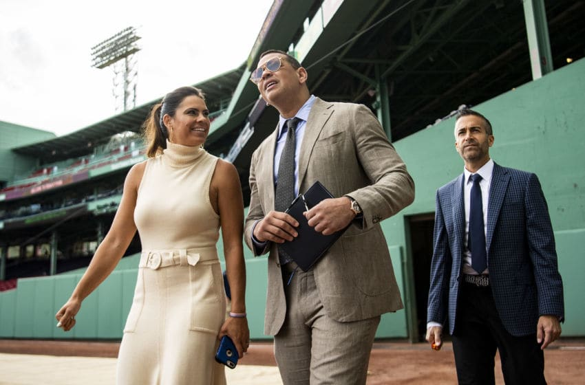 BOSTON, MA - SEPTEMBER 8: ESPN Sunday Night Baseball color commentators Jessica Mendoza, Alex Rodriguez, and Matt Vasgersian walk toward the Green Monster before a game between the Boston Red Sox and the New York Yankees on September 8, 2019 at Fenway Park in Boston, Massachusetts. (Photo by Billie Weiss/Boston Red Sox/Getty Images)