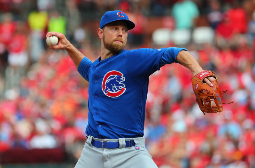 ST LOUIS, MO - SEPTEMBER 29: Ben Zobrist #18 of the Chicago Cubs delivers a pitch against the St. Louis Cardinals in the ninth inning at Busch Stadium on September 29, 2019 in St Louis, Missouri. (Photo by Dilip Vishwanat/Getty Images)