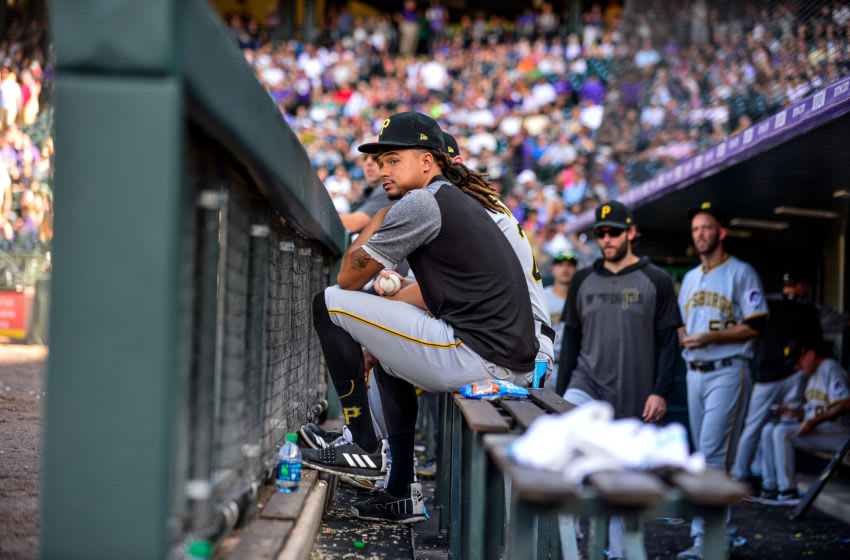 DENVER, CO - SEPTEMBER 1: Chris Archer #24 of the Pittsburgh Pirates watches the game from the bench during a game against the Colorado Rockies at Coors Field on September 1, 2019 in Denver, Colorado. (Photo by Dustin Bradford/Getty Images)