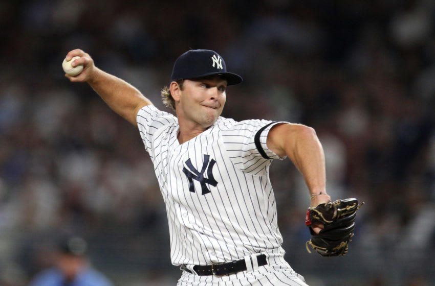 BRONX, NY - AUGUST 15: Chance Adams #35 of the New York Yankees pitches during the game between the Cleveland Indians and the New York Yankees at Yankee Stadium on Thursday, August 15, 2019 in the Bronx borough of New York City. (Photo by Rob Tringali/MLB Photos via Getty Images)