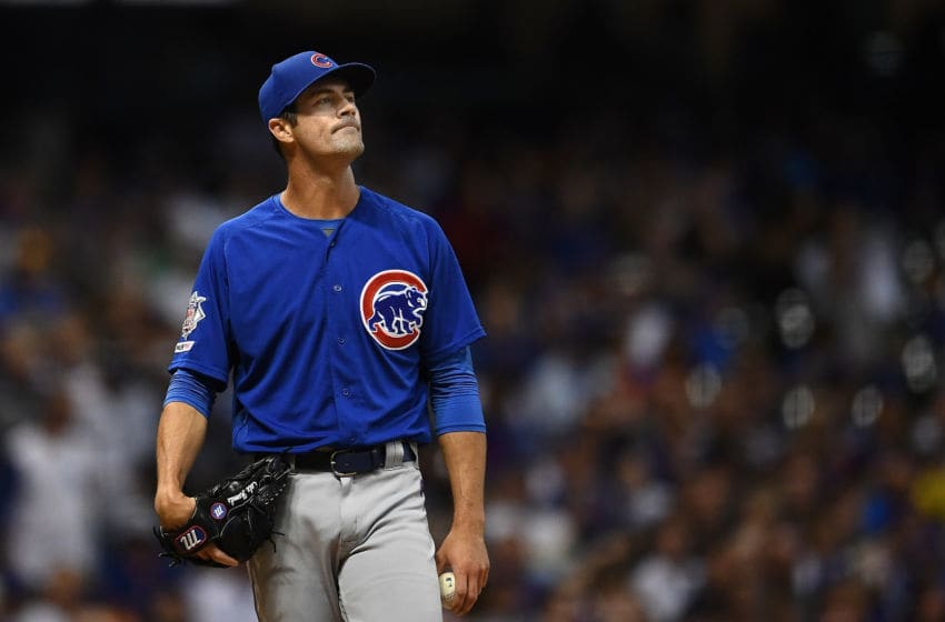 MILWAUKEE, WISCONSIN - SEPTEMBER 06: Cole Hamels #35 of the Chicago Cubs reacts to a home run during a game against the Milwaukee Brewers at Miller Park on September 06, 2019 in Milwaukee, Wisconsin. (Photo by Stacy Revere/Getty Images)