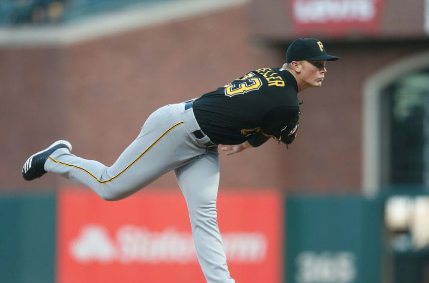 SAN FRANCISCO, CALIFORNIA - SEPTEMBER 10: Mitch Keller #23 of the Pittsburgh Pirates pitches in the bottom of the first inning against the San Francisco Giants at Oracle Park on September 10, 2019 in San Francisco, California. (Photo by Lachlan Cunningham/Getty Images)