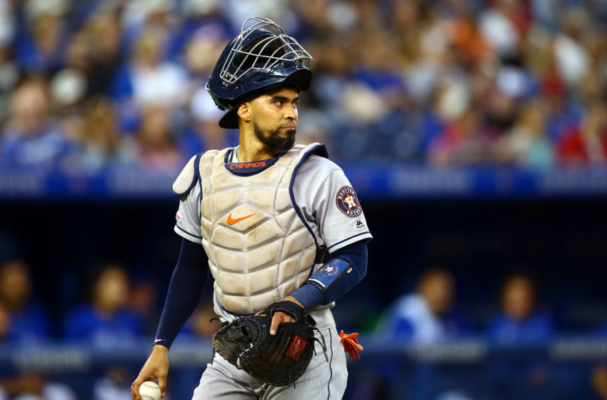 TORONTO, ON - AUGUST 30: Robinson Chirinos #28 of the Houston Astros looks on following the second inning during a MLB game against the Toronto Blue Jays at Rogers Centre on August 30, 2019 in Toronto, Canada. (Photo by Vaughn Ridley/Getty Images)