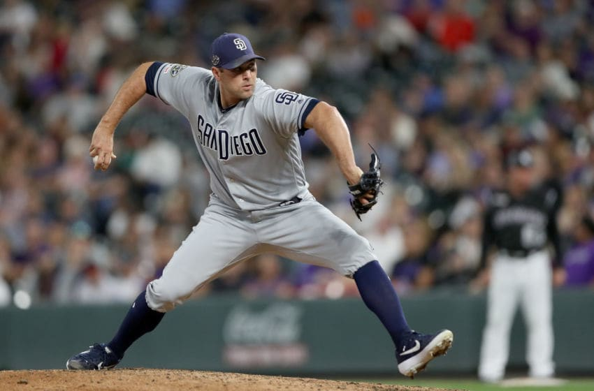 DENVER, COLORADO - SEPTEMBER 13: Pitcher Craig Stammen #34 of the San Diego Padres throws in the sixth inning against the Colorado Rockies at Coors Field on September 13, 2019 in Denver, Colorado. (Photo by Matthew Stockman/Getty Images)