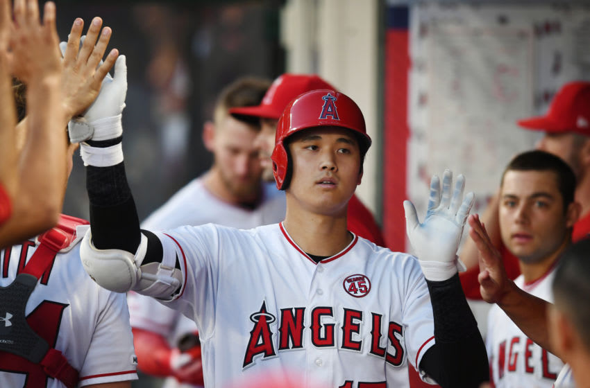 ANAHEIM, CA - SEPTEMBER 11: Los Angeles Angels designated hitter Shohei Ohtani (17) in the dugout after hitting a solo home run in the fifth inning of a game against the Cleveland Indians played on September 11, 2019 at Angel Stadium of Anaheim in Anaheim, CA.(Photo by John Cordes/Icon Sportswire via Getty Images)