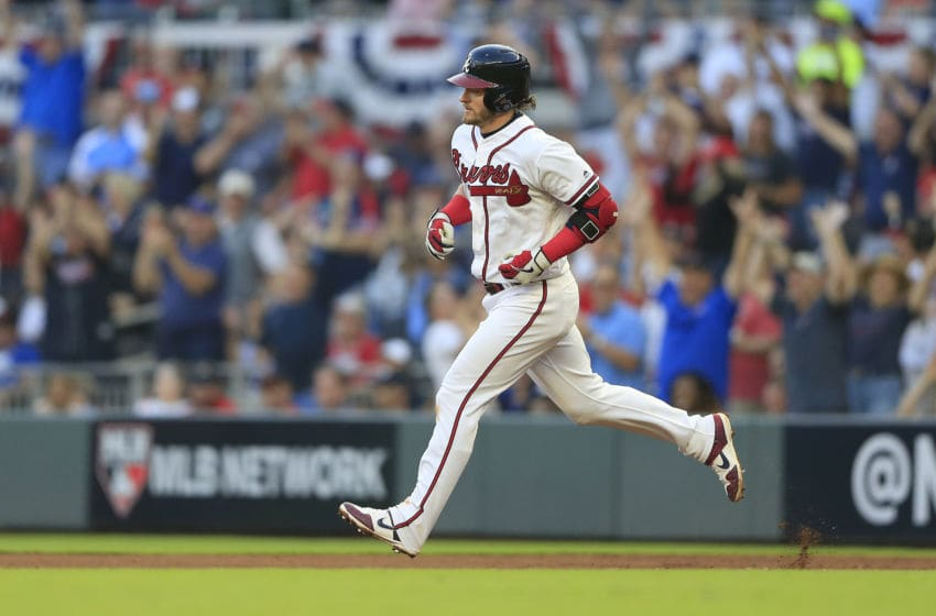 ATLANTA, GA - OCTOBER 09: Atlanta Braves third baseman Josh Donaldson #20 rounds the bases after hitting a home run the fifth and final game of the National League Division Series between the Atlanta Braves and the St. Louis Cardinals on October 9, 2019 at Suntrust Park in Atlanta, Georgia. (Photo by David J. Griffin/Icon Sportswire via Getty Images)
