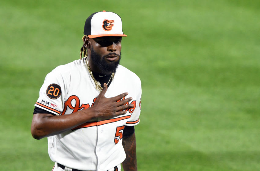 BALTIMORE, MD - SEPTEMBER 17: Miguel Castro #50 of the Baltimore Orioles walks back to the dug out during a baseball game against the Toronto Blue Jays at Oriole Park at Camden Yards on September 17, 2019 in Baltimore, Maryland. (Photo by Mitchell Layton/Getty Images)